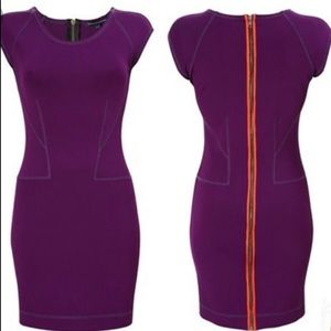 French Connection Scuba Bodycon Purple Dress 0